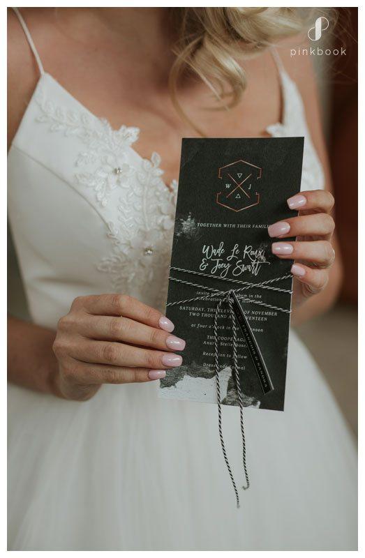 Bride with menu