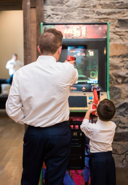 arcade games at wedding