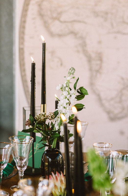 black candles emerald green wedding