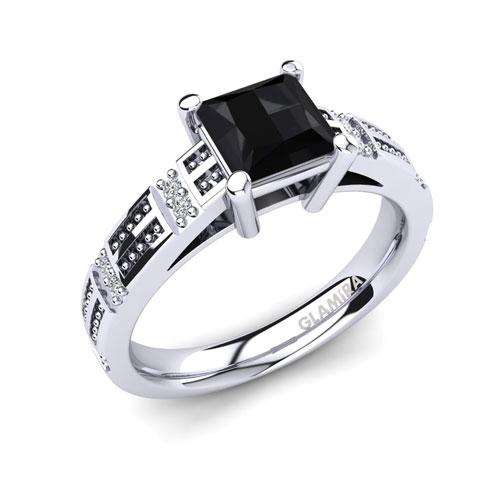 Black Diamond Silver Ring