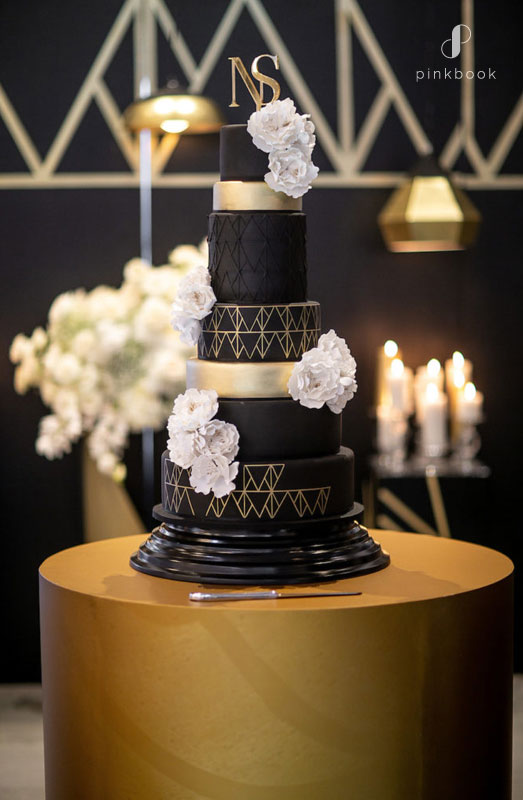 black gold wedding cake