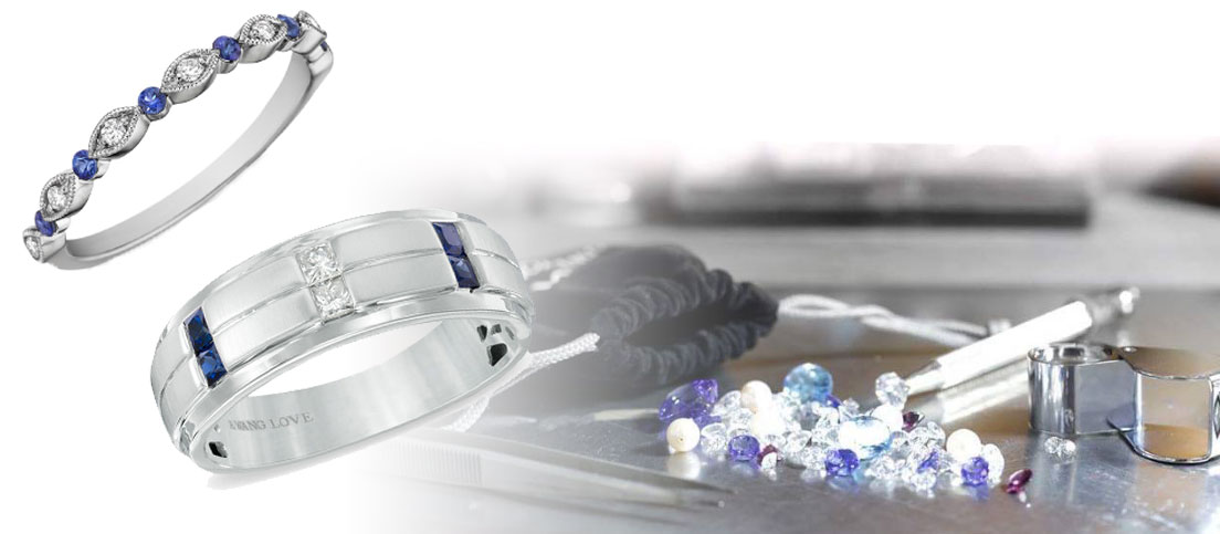 blue gemstones wedding rings