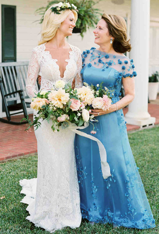 blue long dress for mother of bride