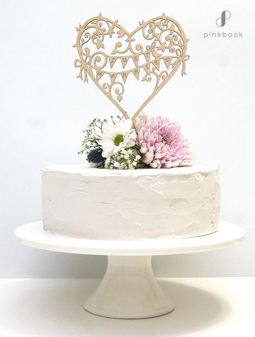boho wooden wedding cake topper