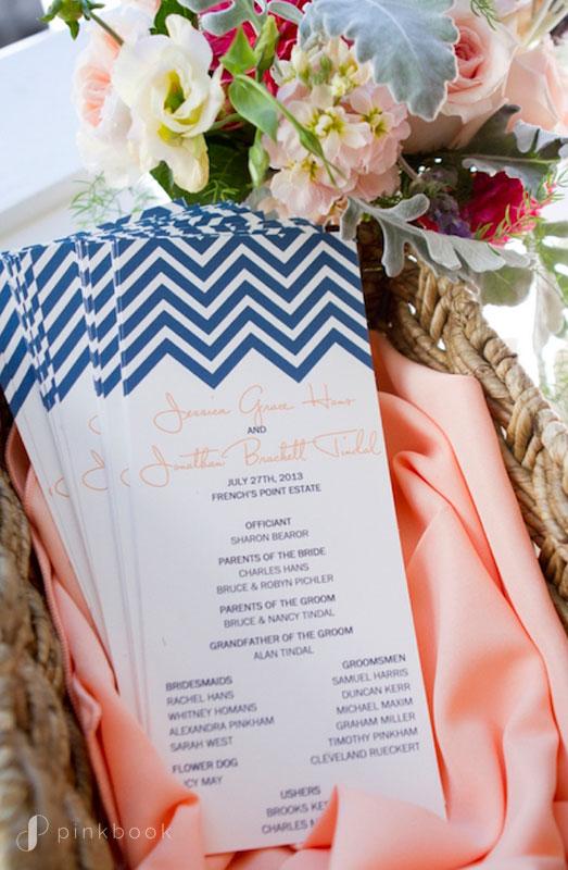 Blue Peach Wedding Program Chevron Print