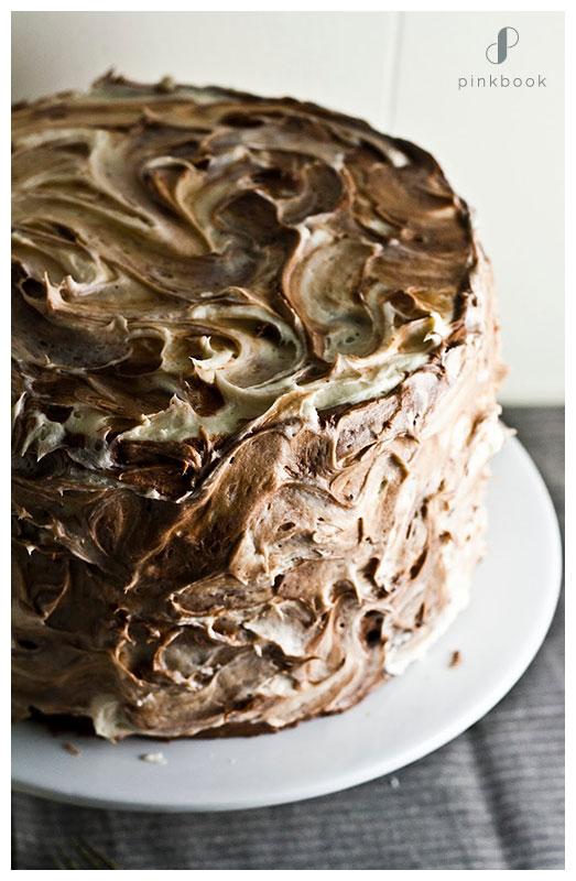 Chocolate Vanilla Swirl Textured Cake