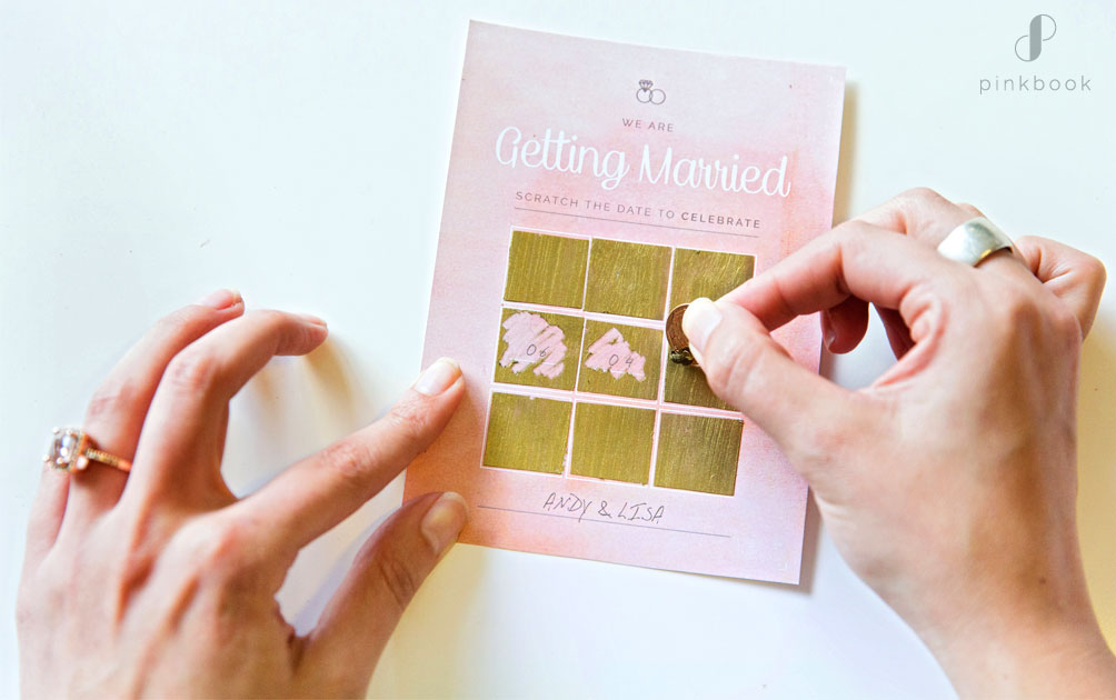 diy scratch card wedding save the date
