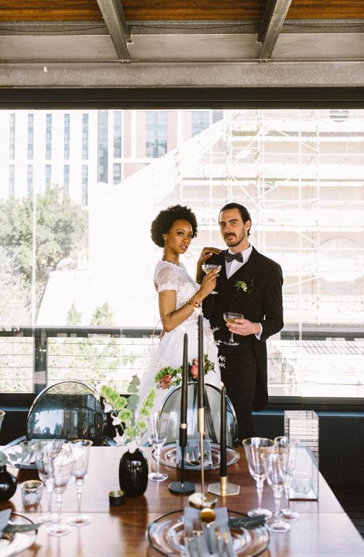 emerald green urban wedding inspiration