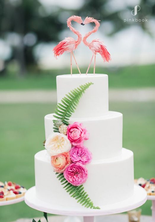 flamingos wedding cake topper