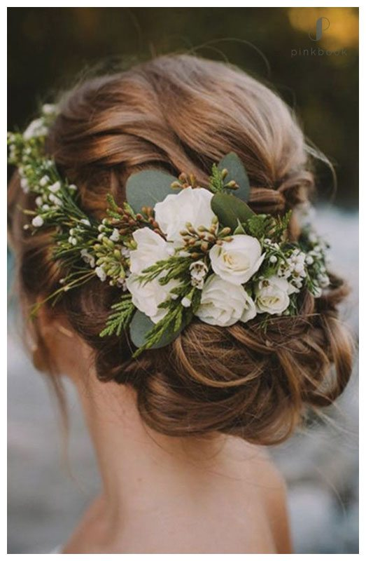 bridal hairstyles low bun with flowers wwwpixsharkcom