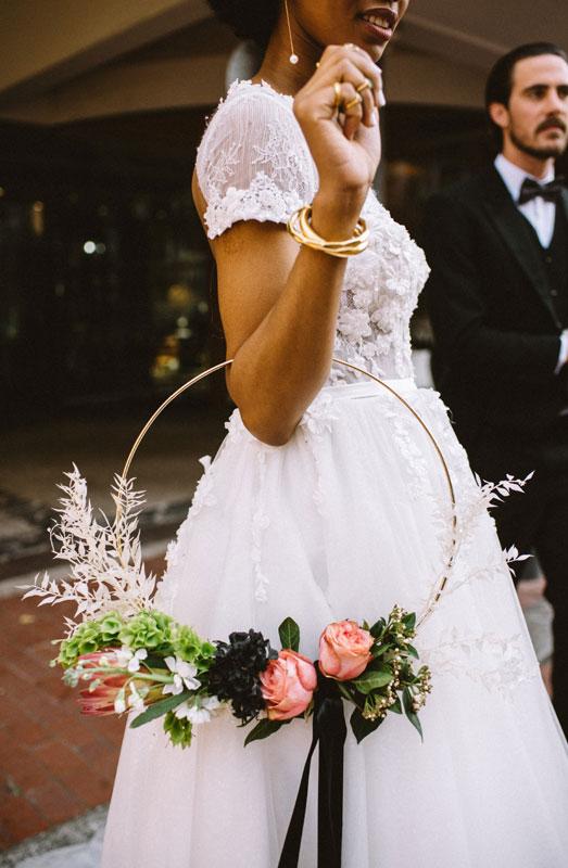 floral hoop wedding bouquet wreath