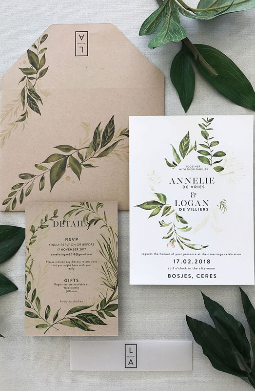 forest wedding theme stationery