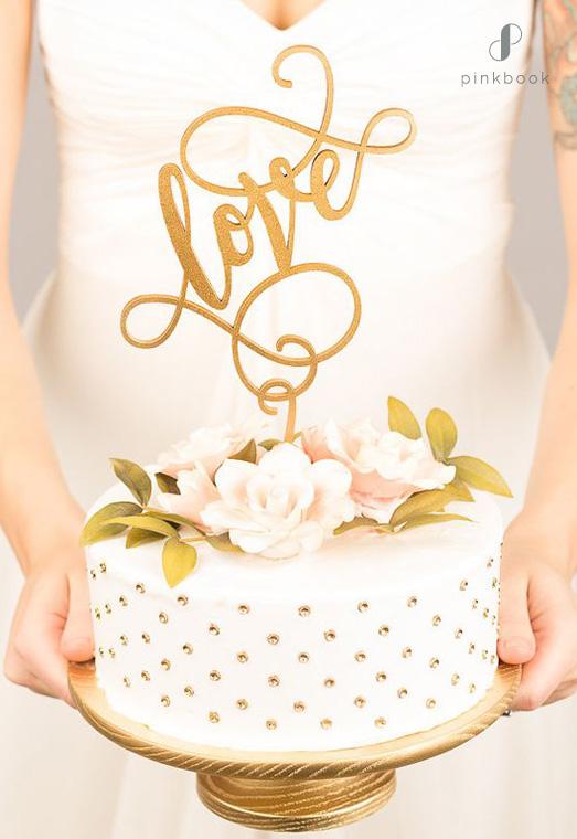 glitter gold love cake topper