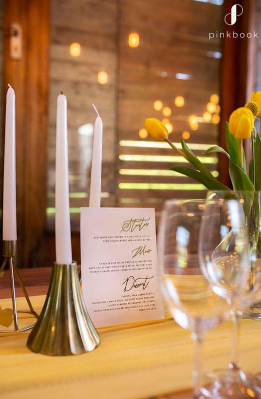 gold wedding menu ideas