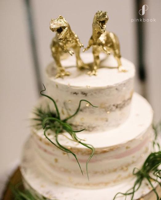 golden dinosaur cake toppers