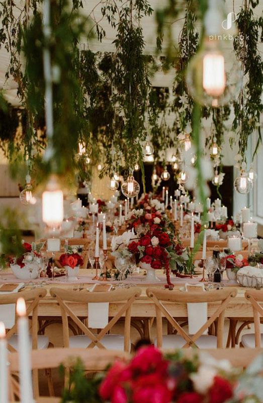 greenery lightbulbs wedding decor