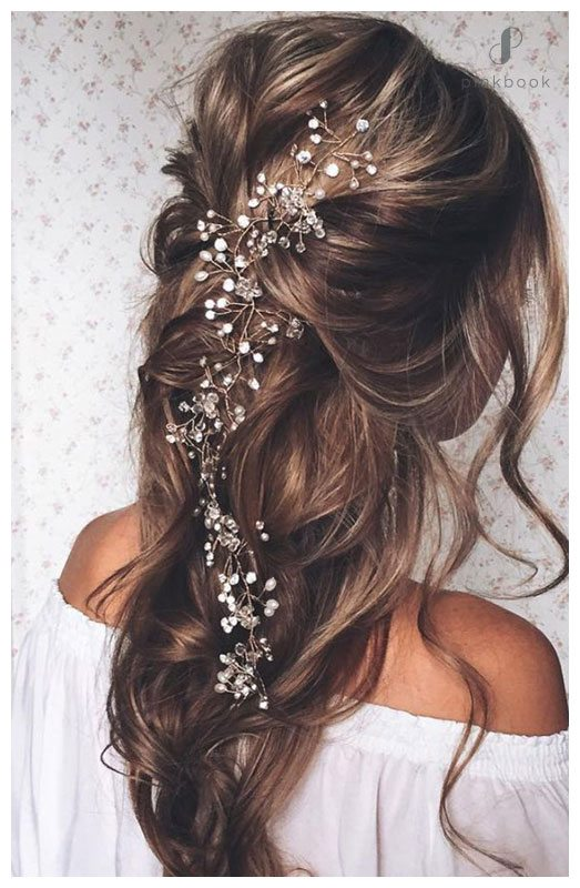 half up down pearl wedding hairstyle