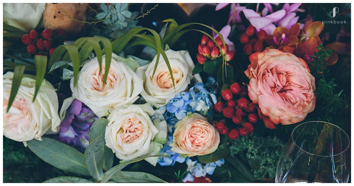 cherry floral centrepieces