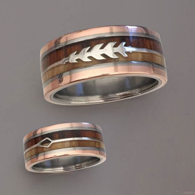 hunter rose gold wood wedding ring