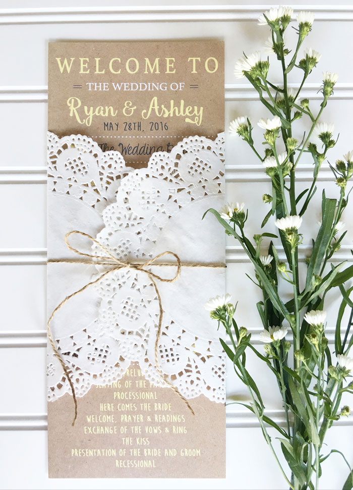 Kraft and White Lace Doily Wedding Order of Service
