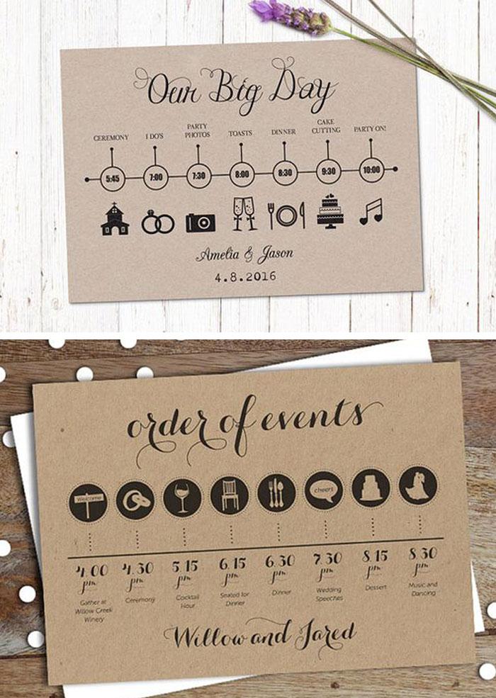 Kraft Cards for Wedding Timeline