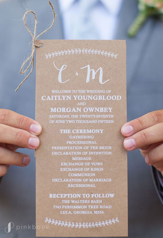 Kraft Wedding Program with White Print