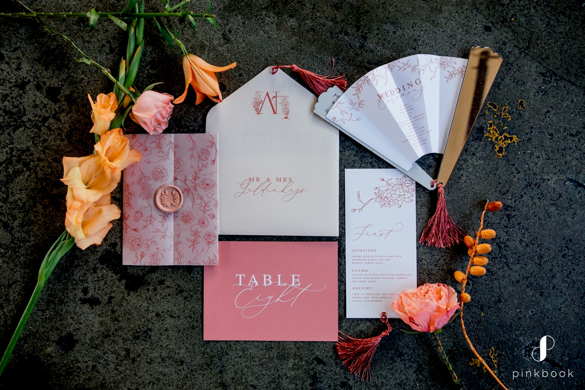 Coral Wedding Stationery by Secret Diary
