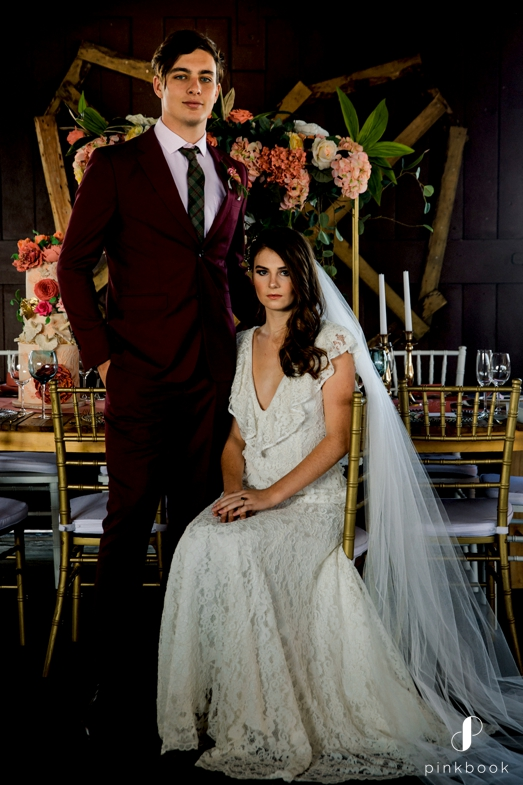 Wedding Dress and Burgundy Suit