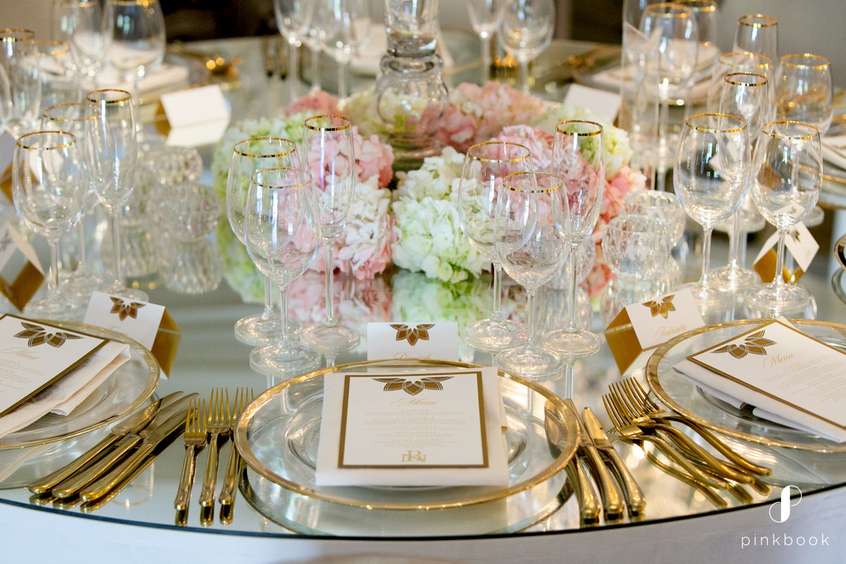 Glass and Gold Wedding Decor