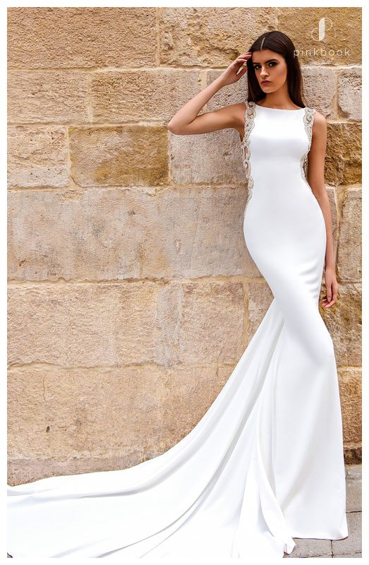 white sheath wedding dress