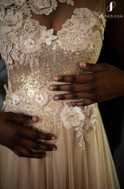 off white floral wedding dress
