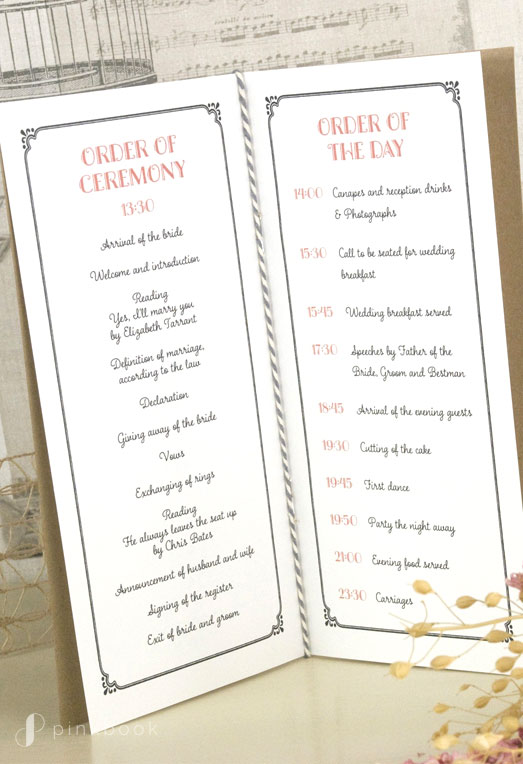 Wedding Order of Ceremony Booklet