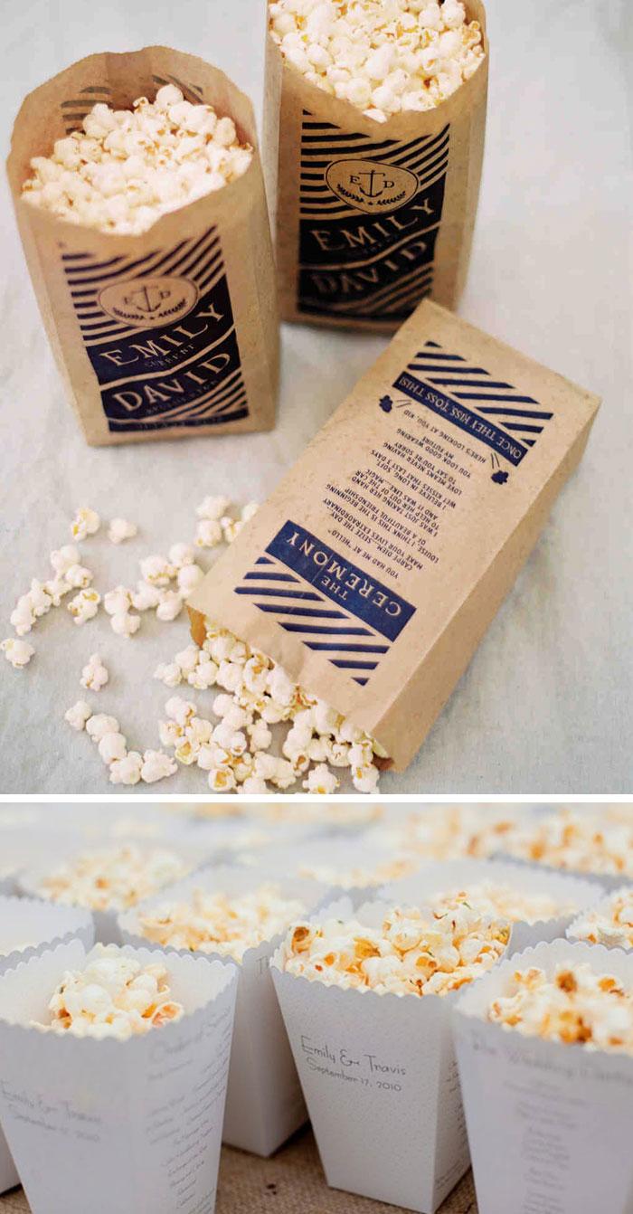Wedding Program on Popcorn Packet