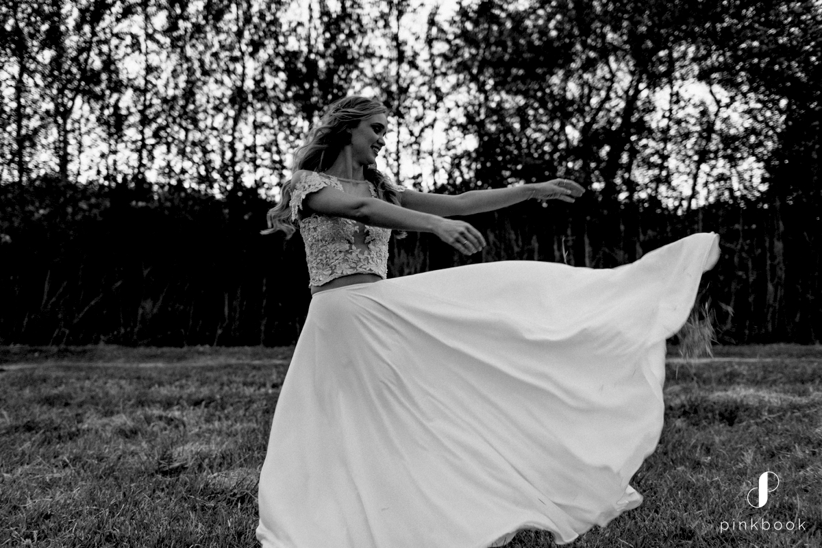whimsical bride in wedding dress