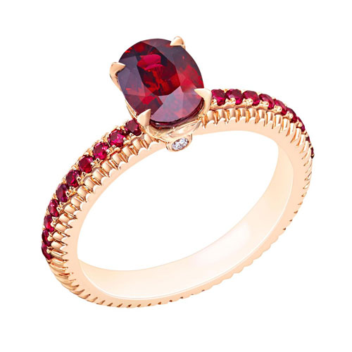 Ruby Gold Ring Halo