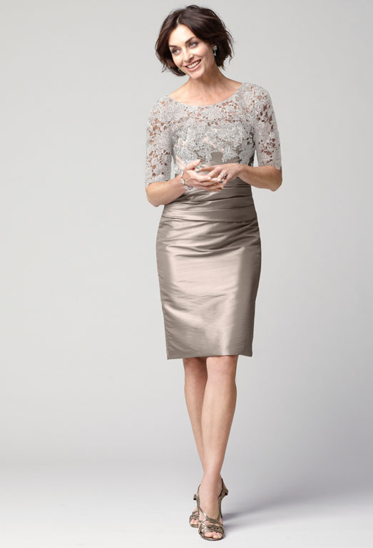 Satin and Lace Knee Length Dress