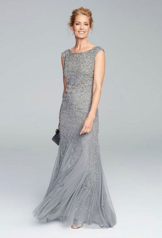 Silver Full Length Mother of the Bride Dress