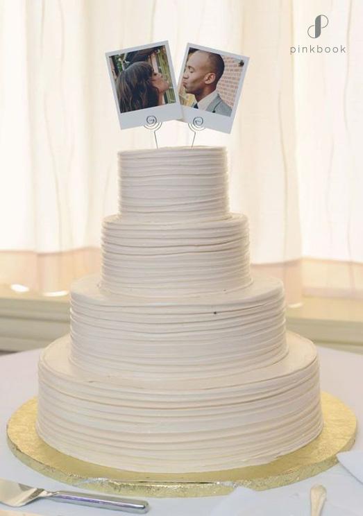 simple polaroid wedding cake topper