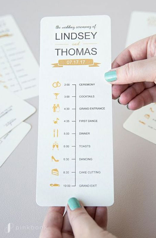 Slim Wedding Timeline Card