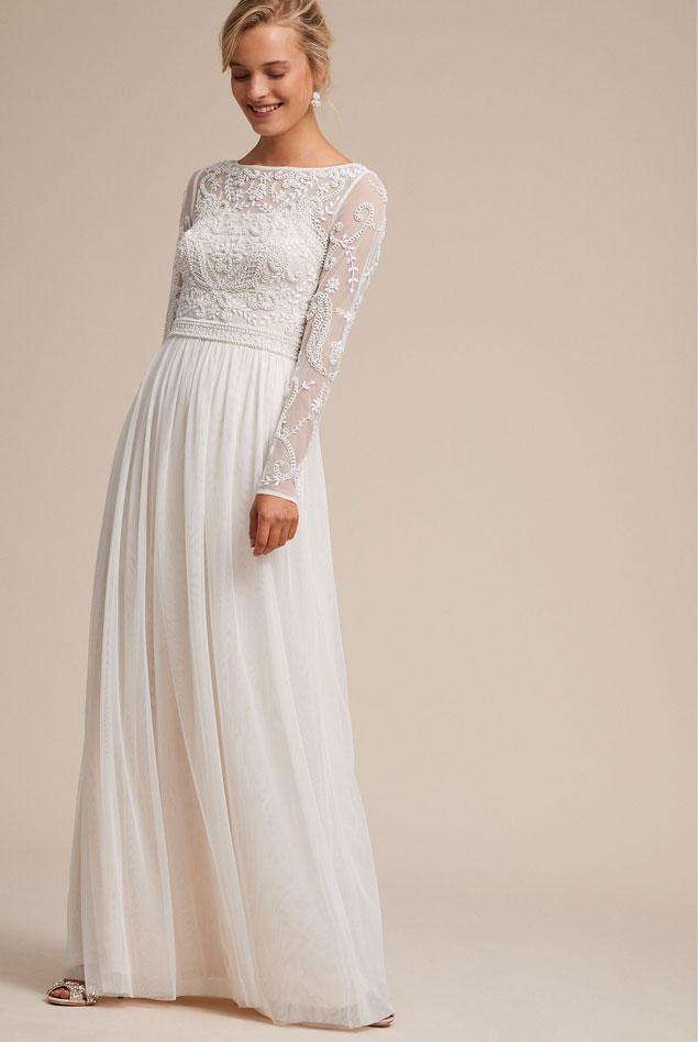 BHLDN Ivory Tulle Vintage Wedding Dress