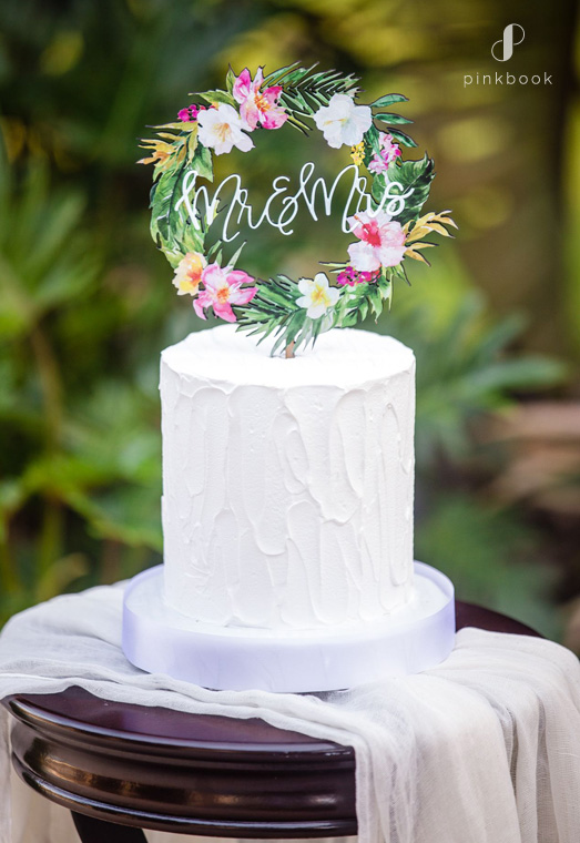 tropical floral wedding cake topper