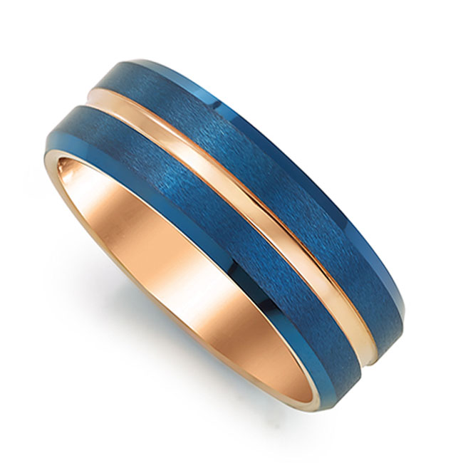 tungsten blue wedding ring for men
