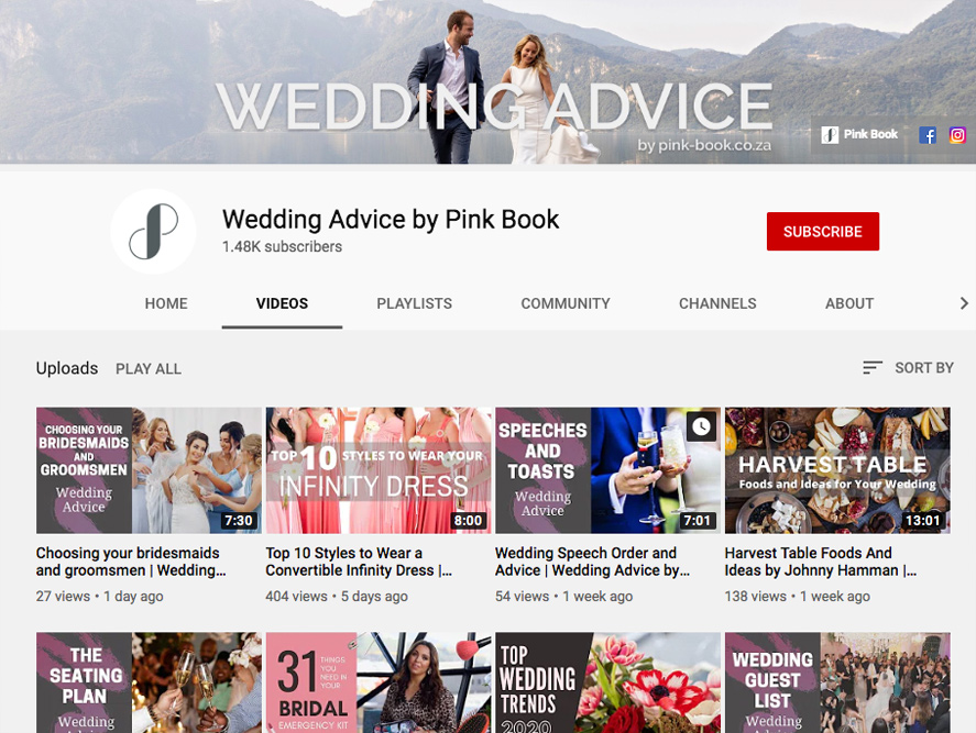 wedding advice youtube channel