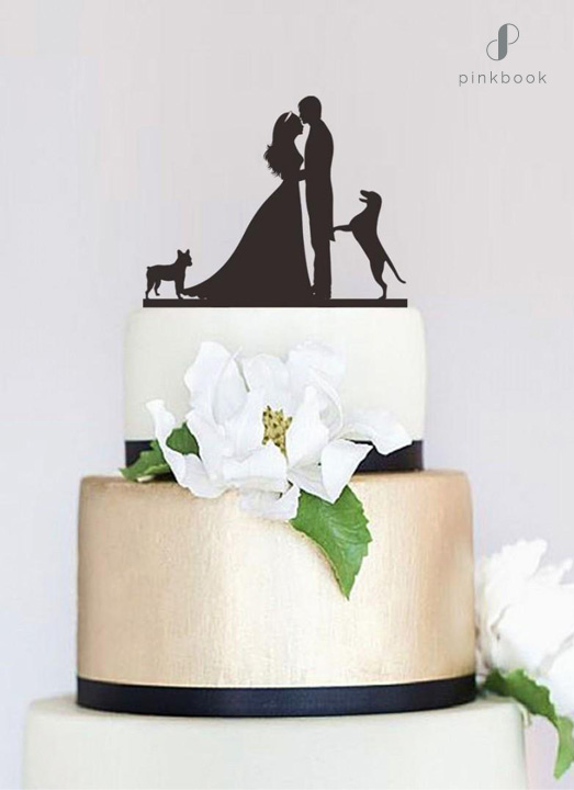 wedding cake topper with dogs