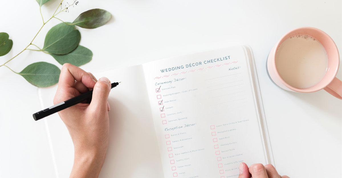 wedding decor checklist by pink book