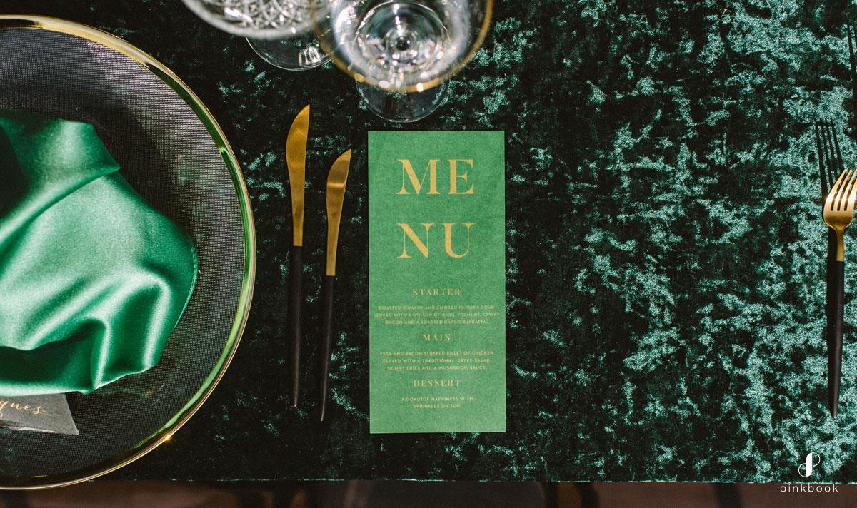 wedding menu susan brand