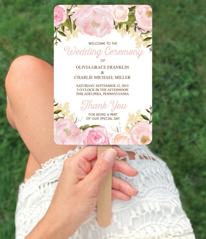 Wedding Program Paddle Fan