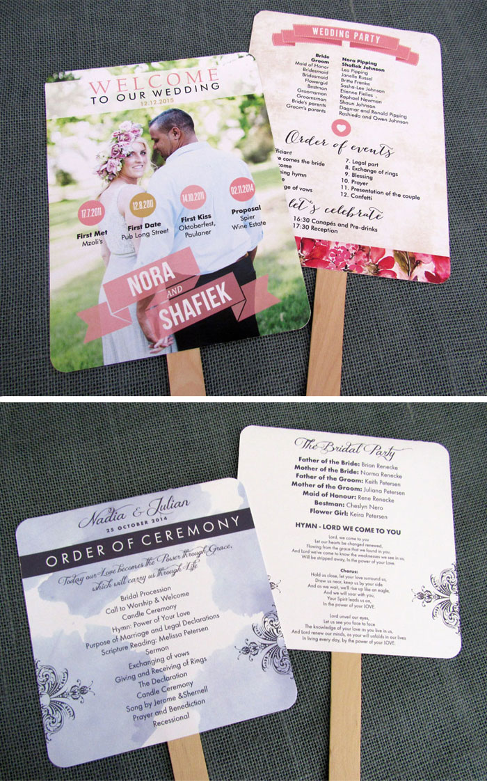 Pink Collection Wedding Programs South Africa