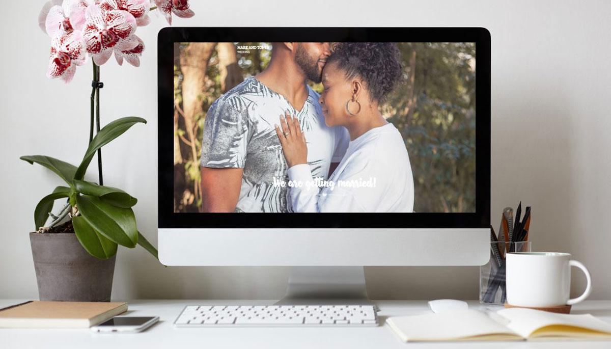 wedding website peony pence