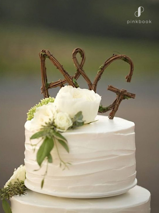 wooden initials wedding cake topper